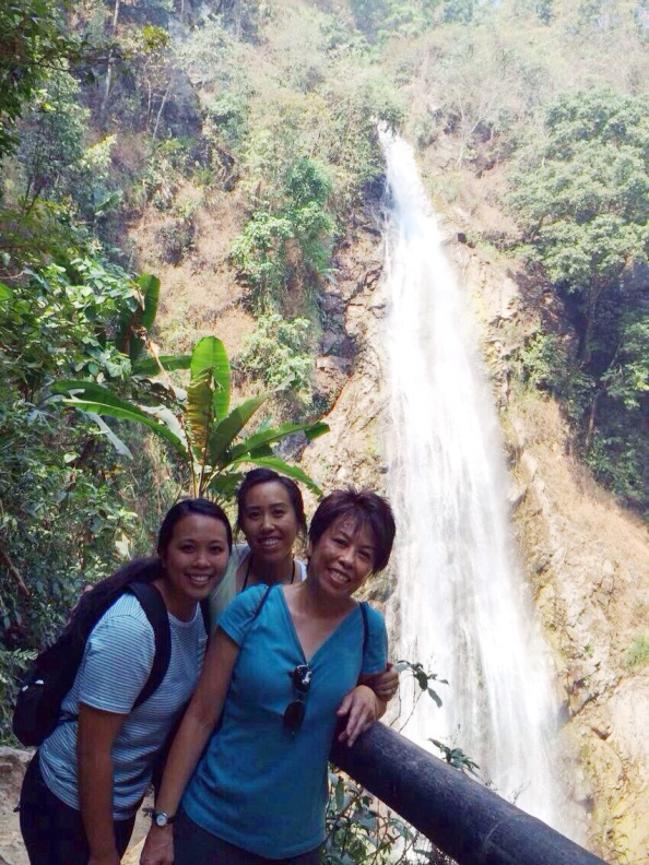 Allison, Mom and me at the waterfall!